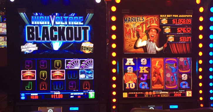 close up of two slot machines