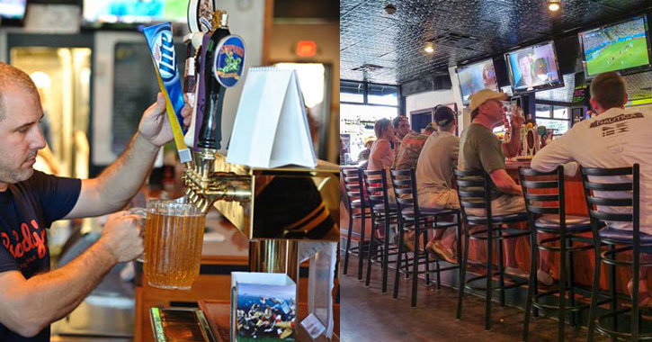 split image of a guy pouring beer on the left and a lineup of taps on the right