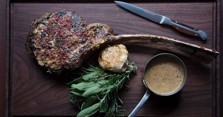 steak artfully plated