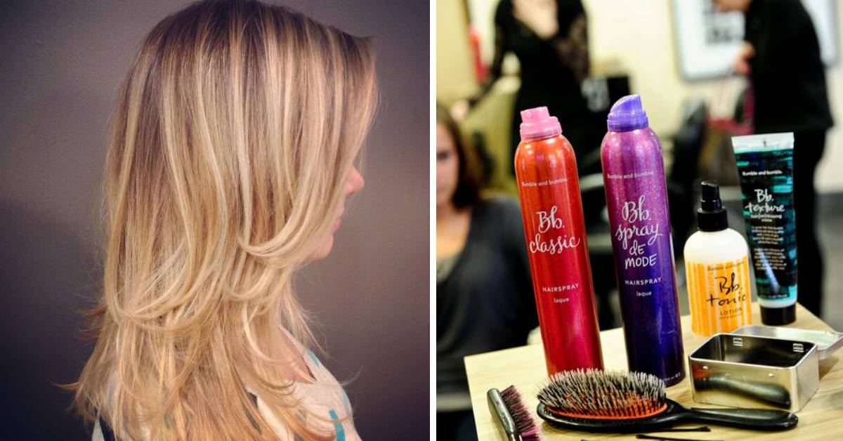 left photo of woman with long hair and right photo of hair spray
