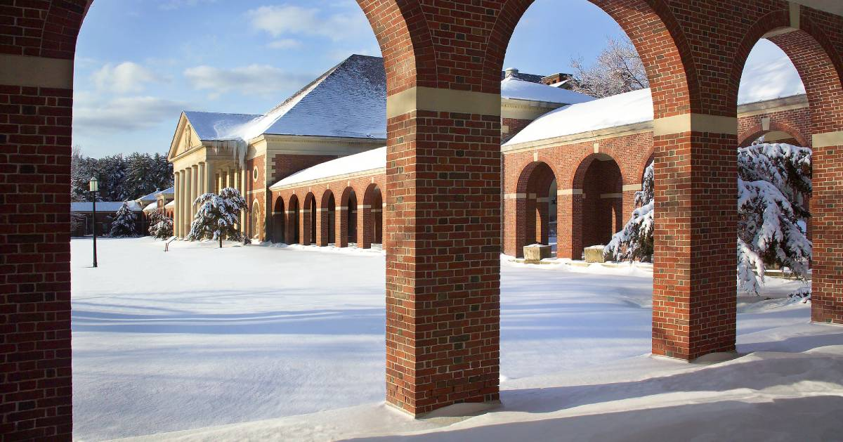 Hall of Springs in the winter with snow