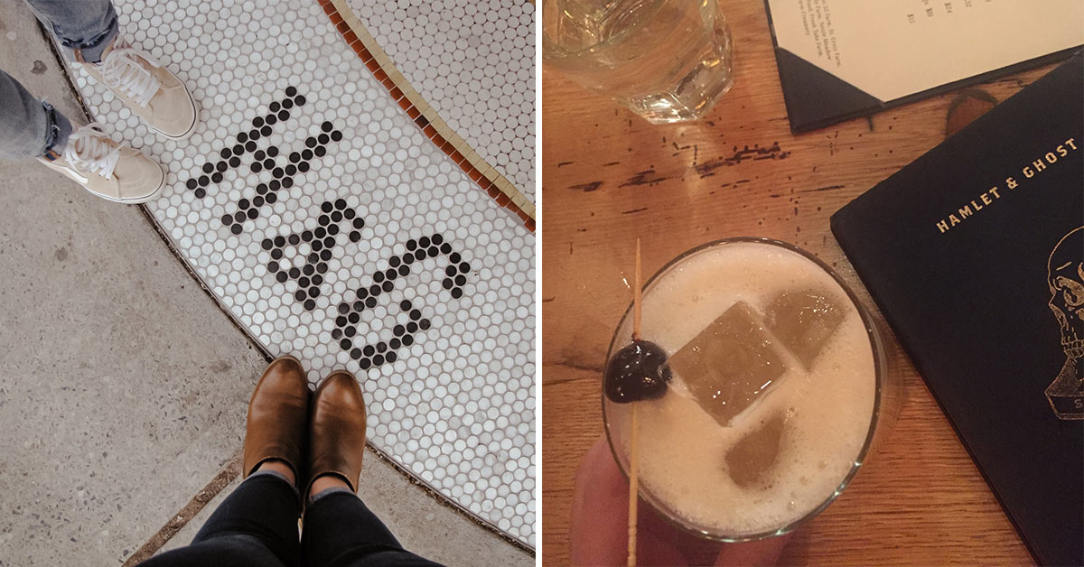 left photo of restaurant logo and shoes and right photo of cocktail