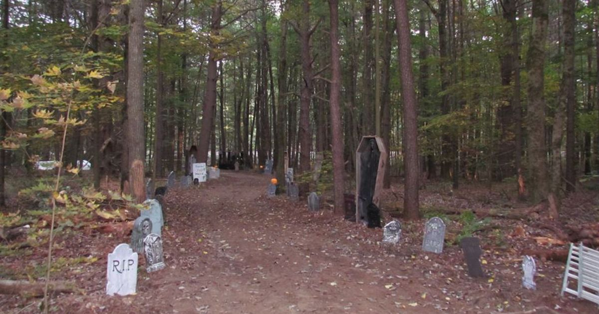 spooky trail with halloween decor