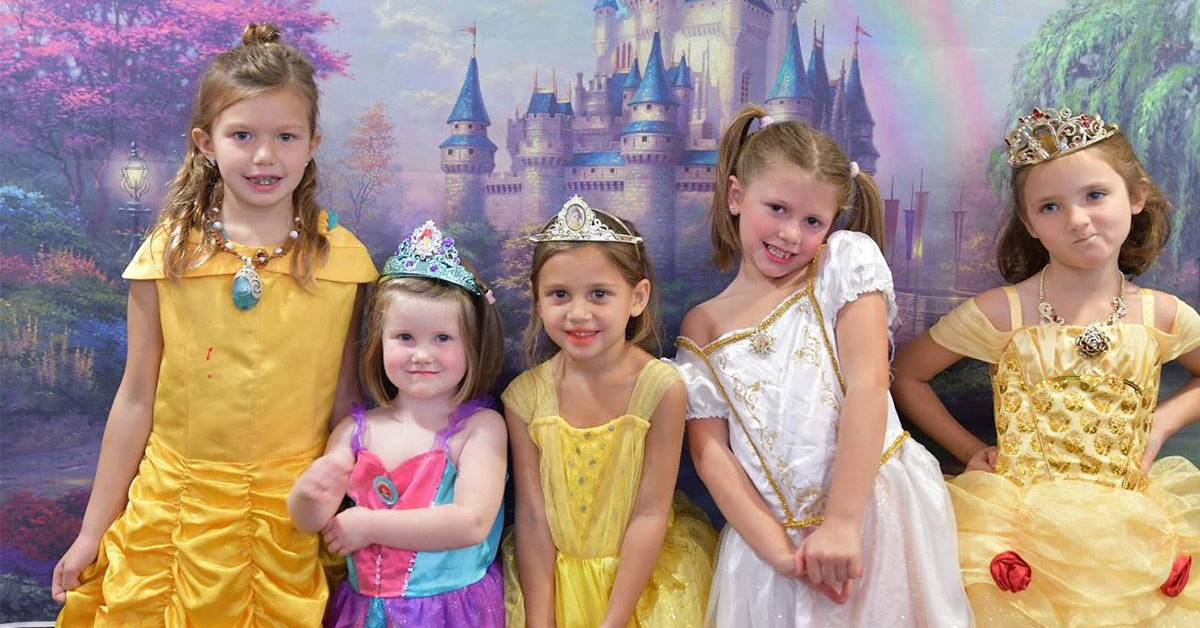 group of girls dressed like princesses