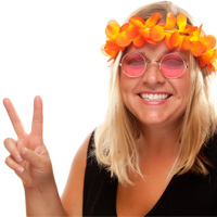 woman with sixties sunglasses giving the peace sign