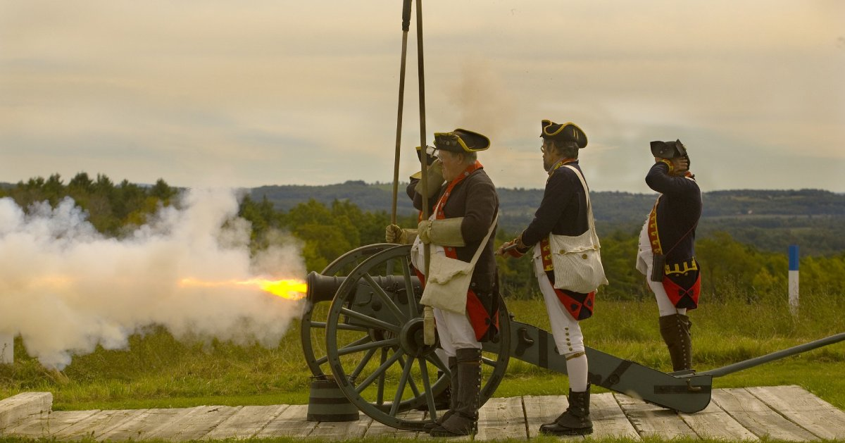 cannon firing at historical park