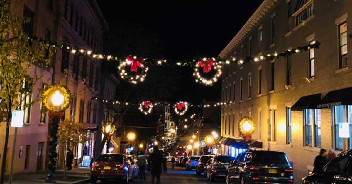dark street with holiday lights