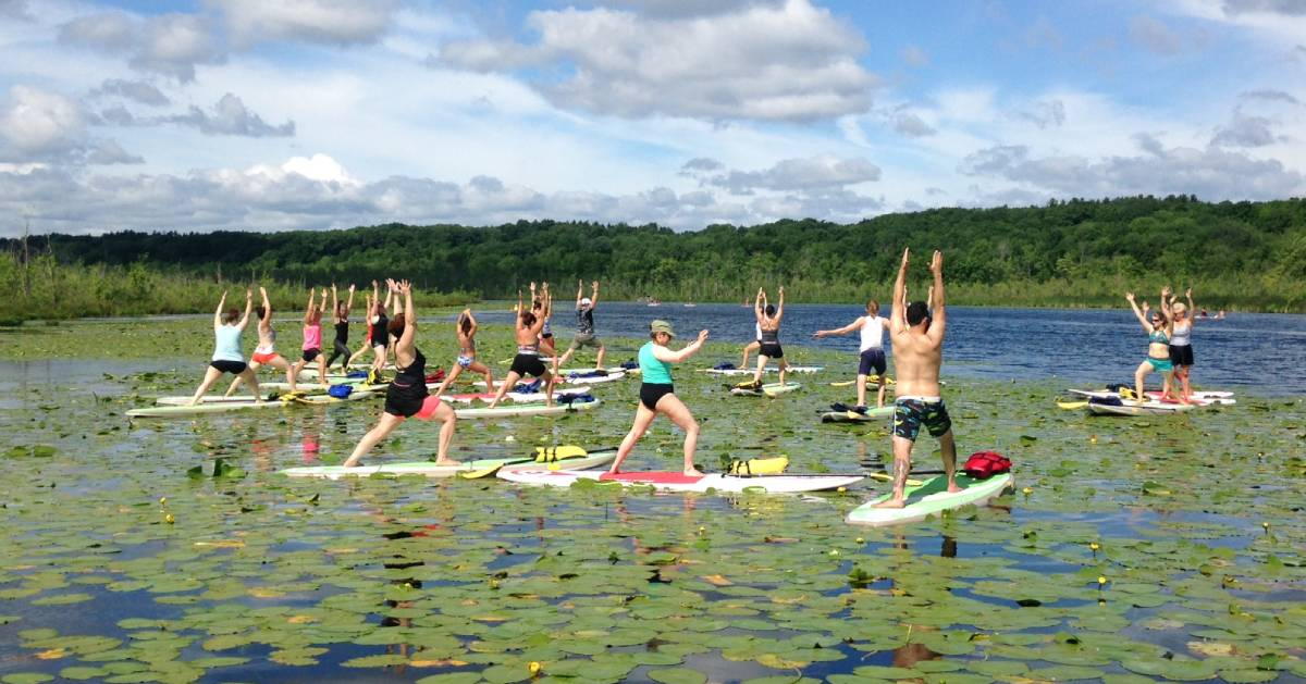 sup yoga on the water