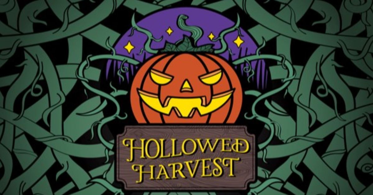 pumpkin logo that says hollowed harvest