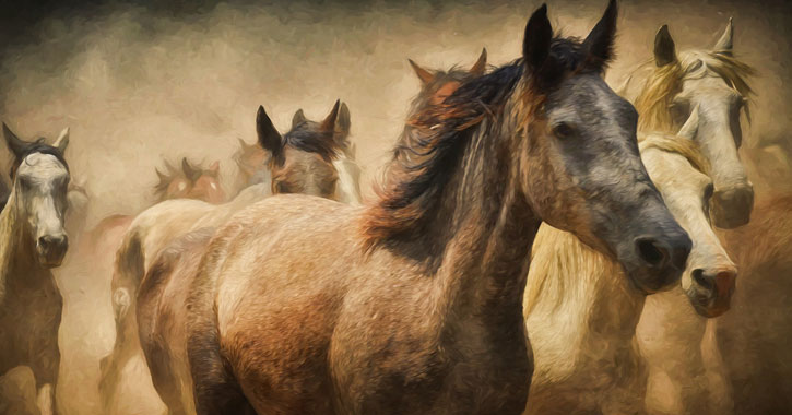 a painting of horses running