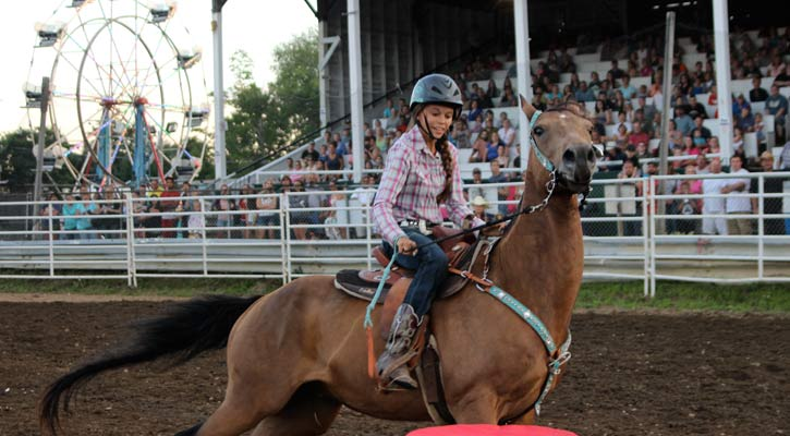 girl riding a horse in an arena in front of a crowd with a ferris wheel in the background