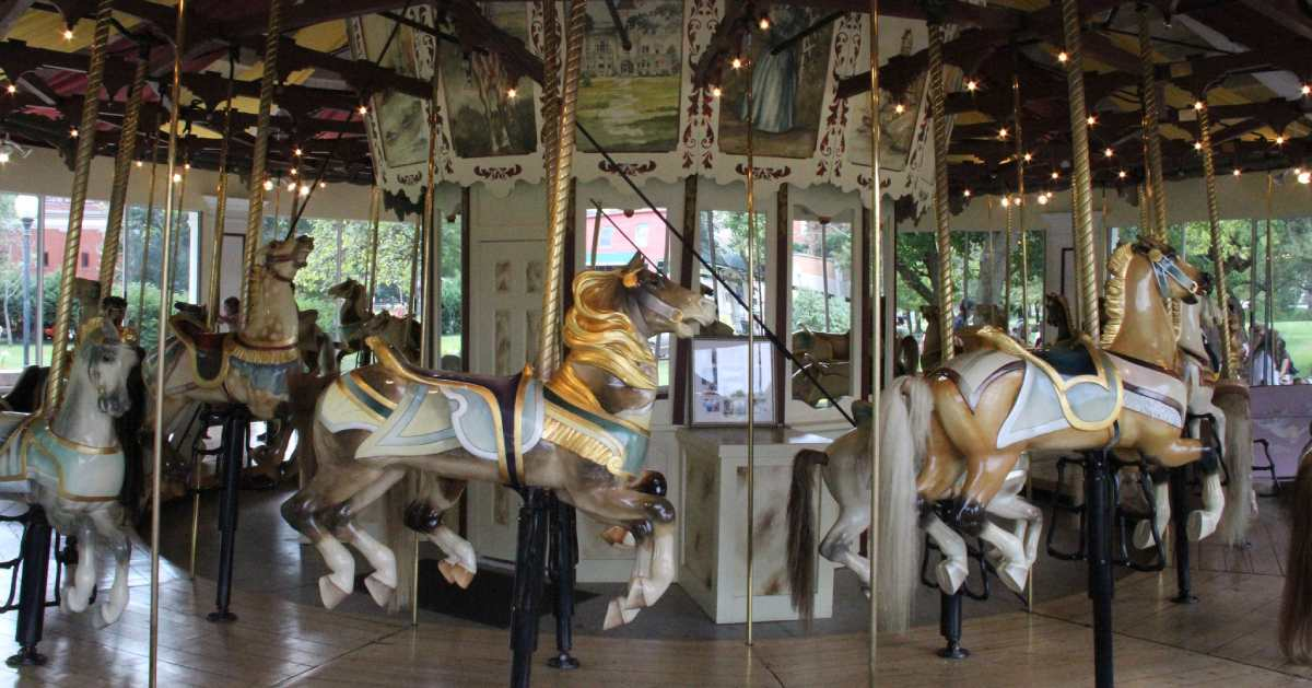 horse seats in a carousel