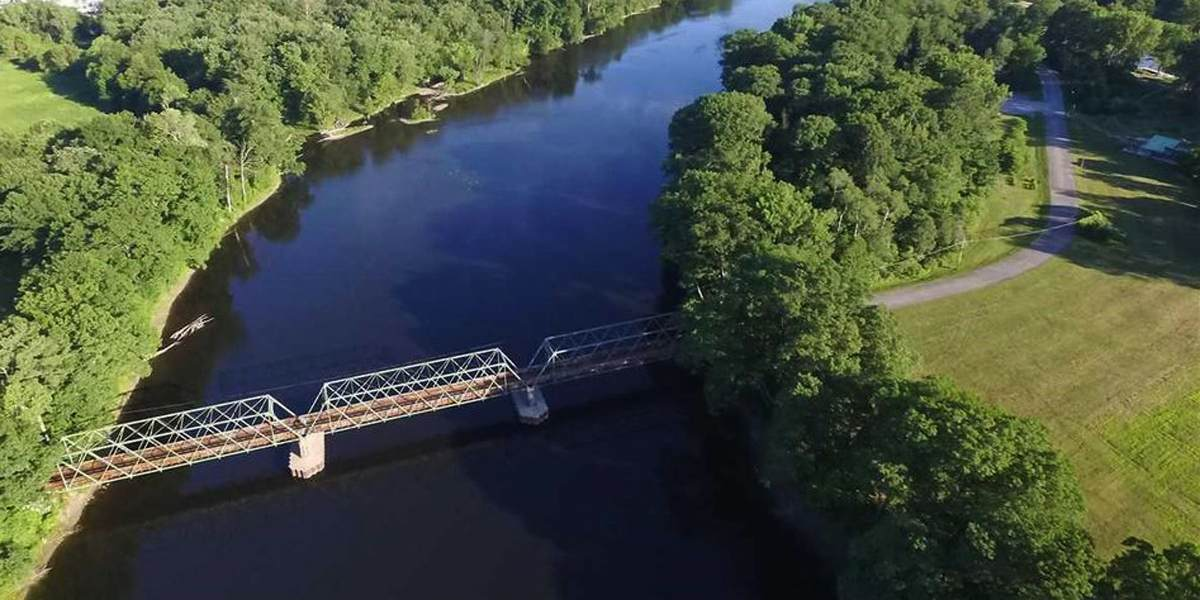 aerial view of bridge and river