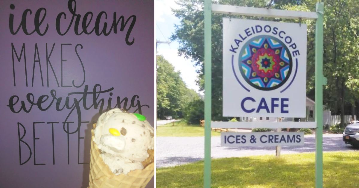 left image of ice cream and sign and right image of a sign