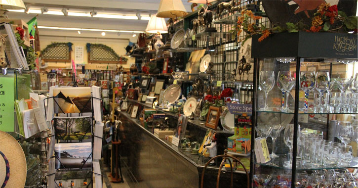 the inside of a gift store