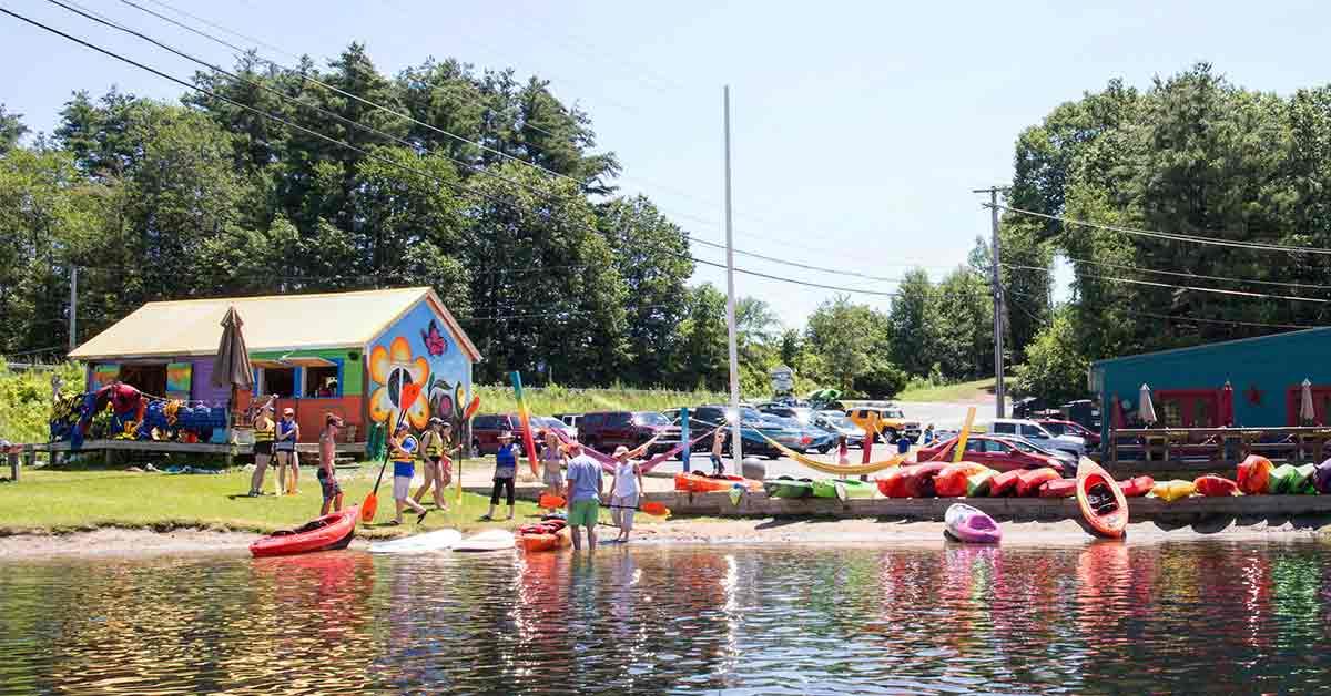 view of kayak rental shop at shoreline