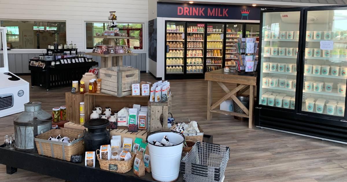 milk fridges and food displays in a farm store