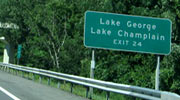 Sign of the Lake George NY Exit