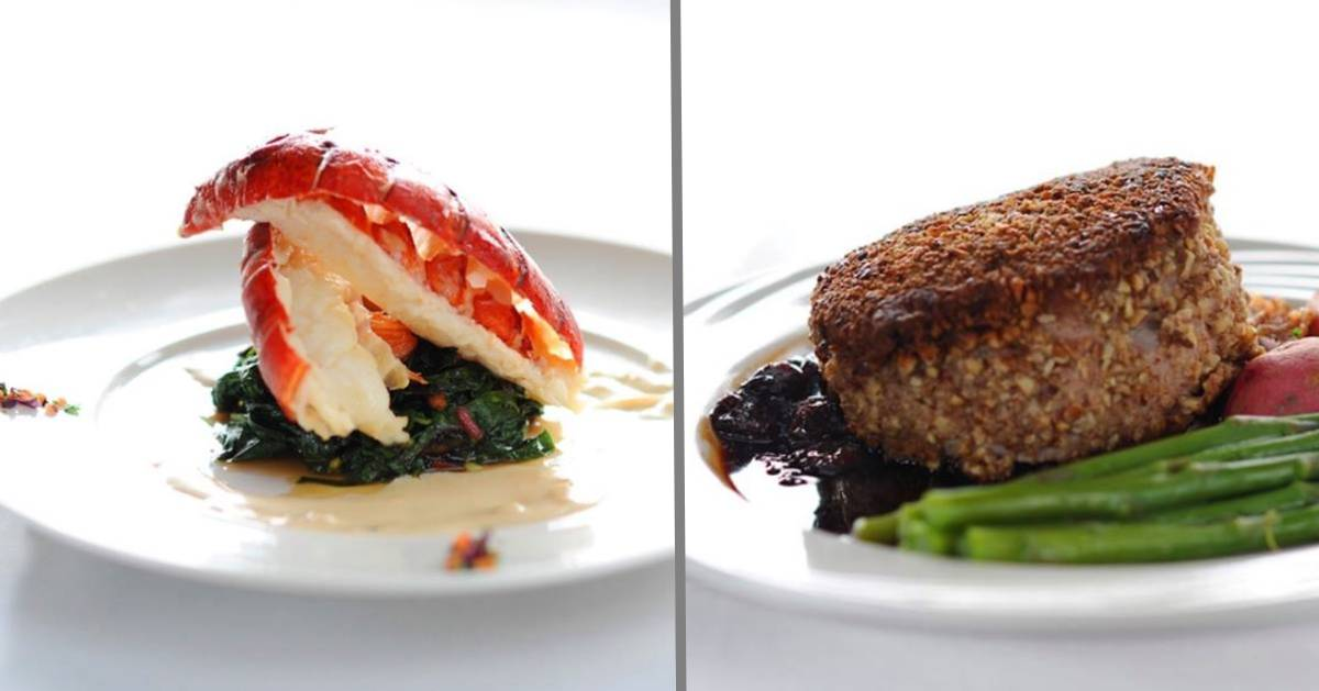 split image with two elegantly plated meals