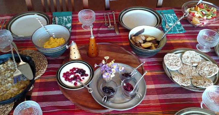 a full breakfast spread out on the table