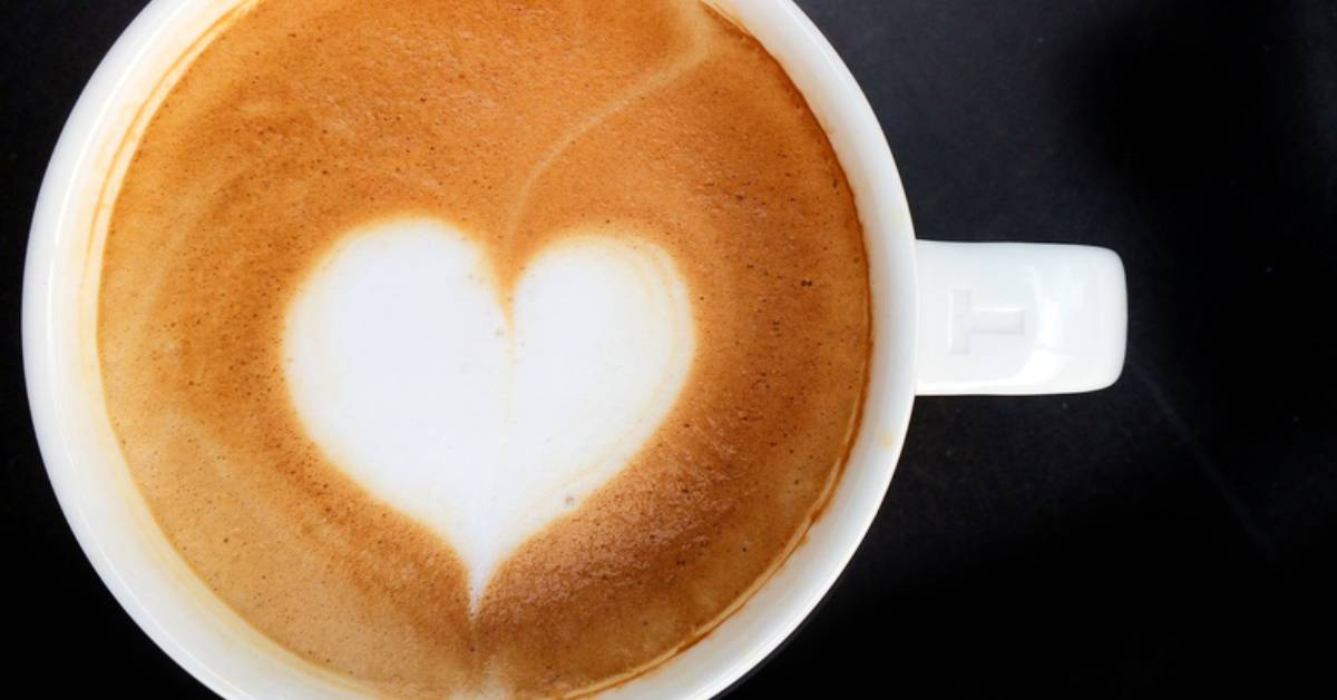 latte art in cup in shape of heart