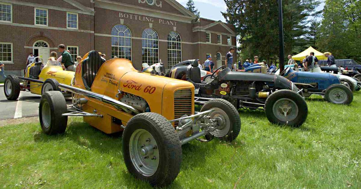 classic car show on a lawn