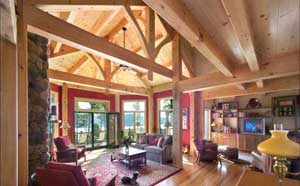 Interior Shot of Timber Frames in a Living Room