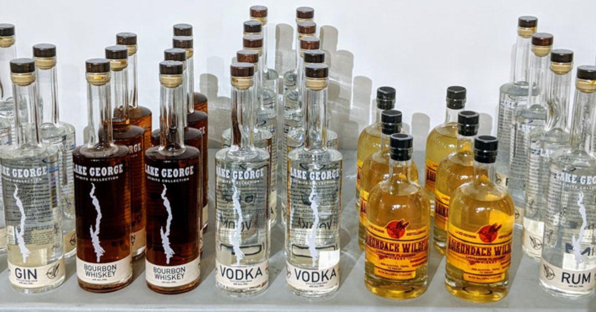 bottles of vodka, whiskey, and gin