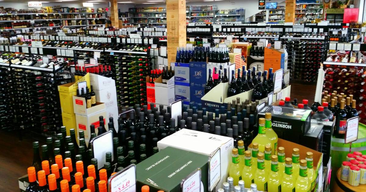 big selection of liquor and wines and liquor store