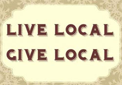 text saying live local give local