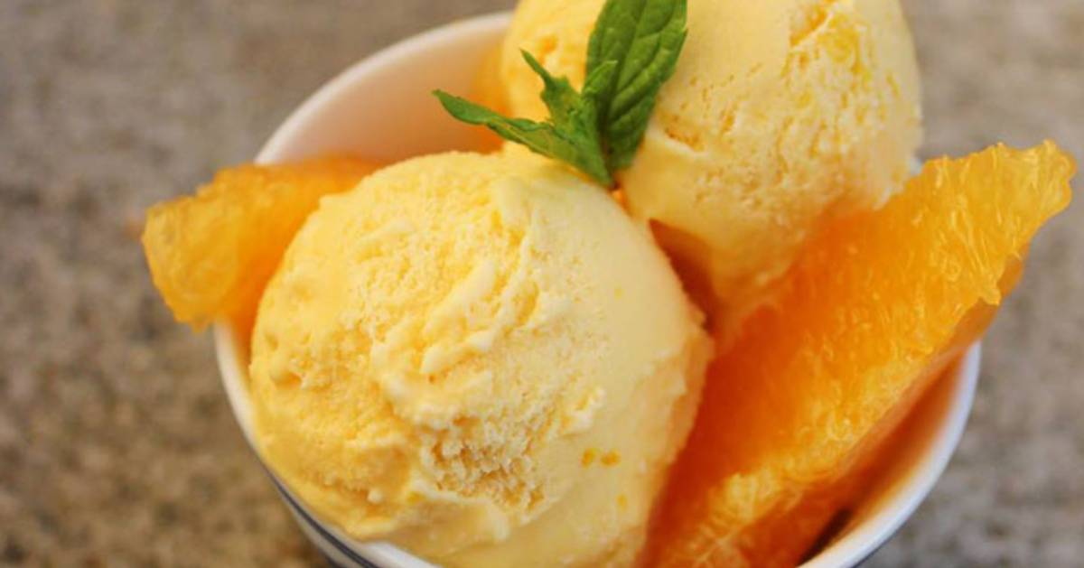 orange ice cream with orange slice