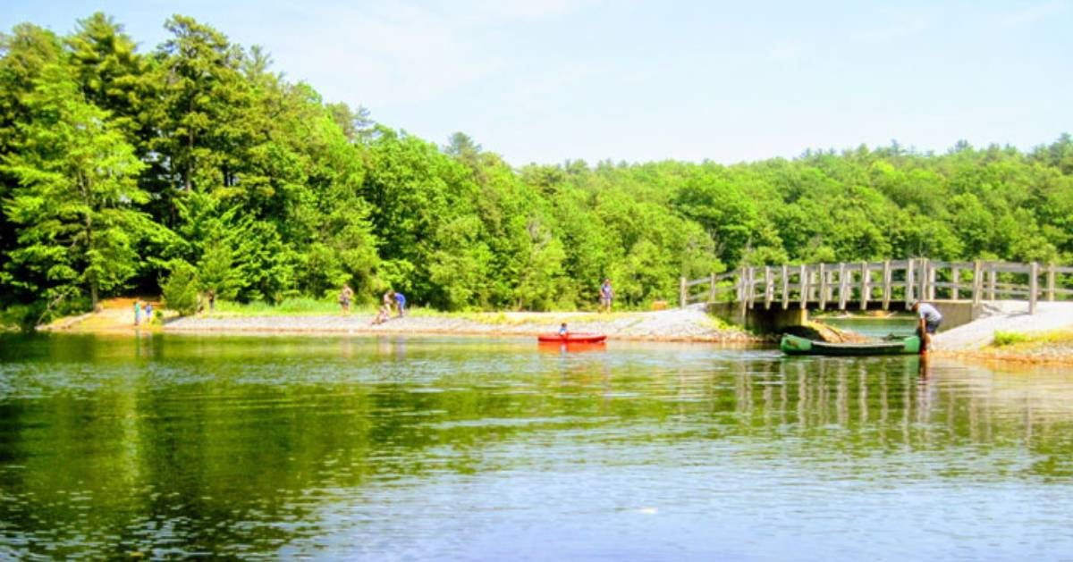 view of lake shoreline and people and a red and a green kayak