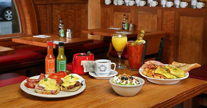 a table plated with breakfast dishes