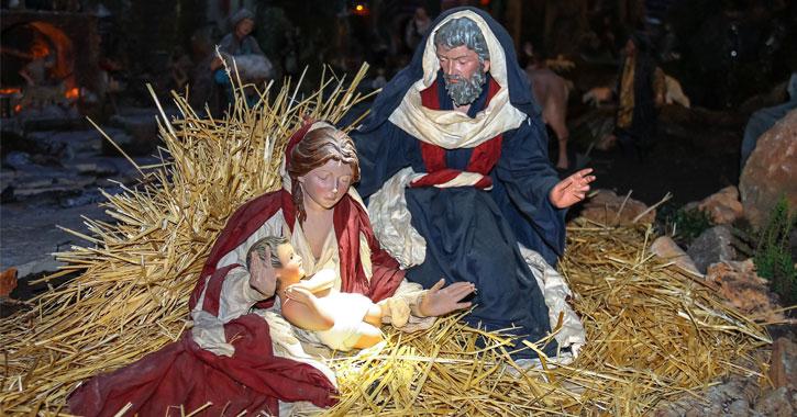 manger scene with Mary, Joseph, and Jesus