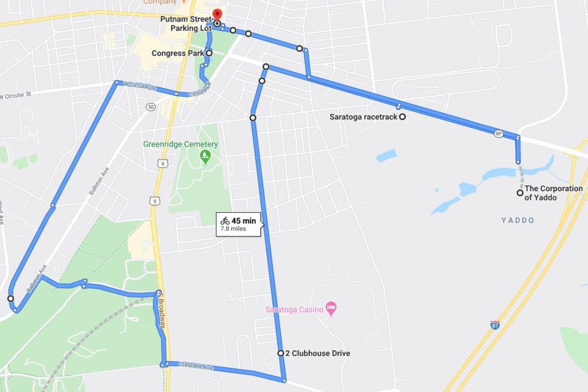 map of bike route in saratoga