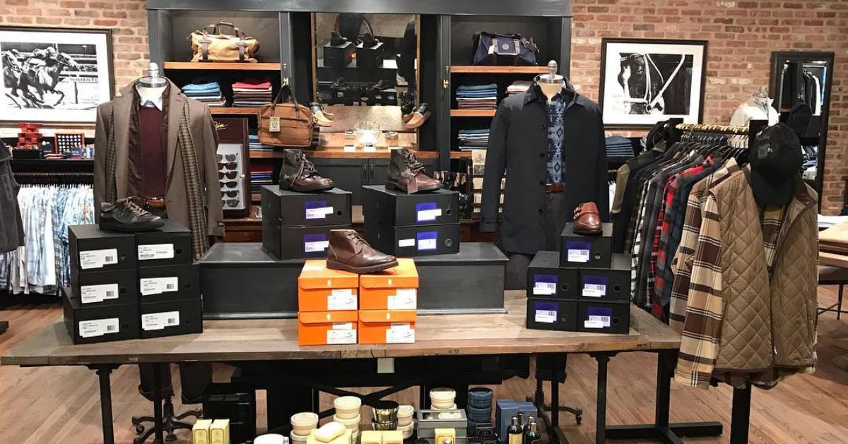 the inside of a men's clothing store