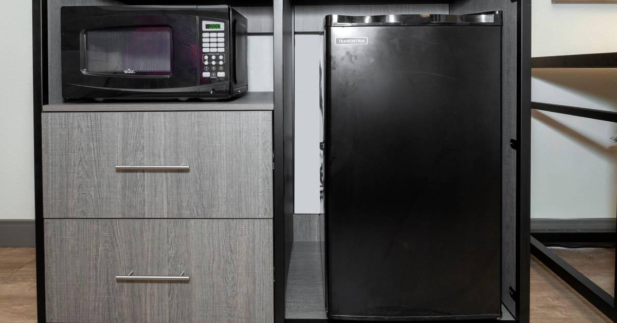 microwave and mini fridge in hotel