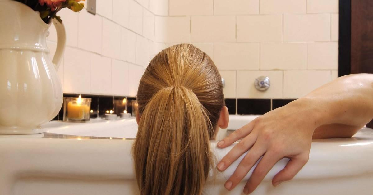 woman in a mineral bath