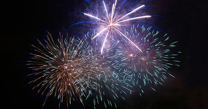 multiple blue fireworks