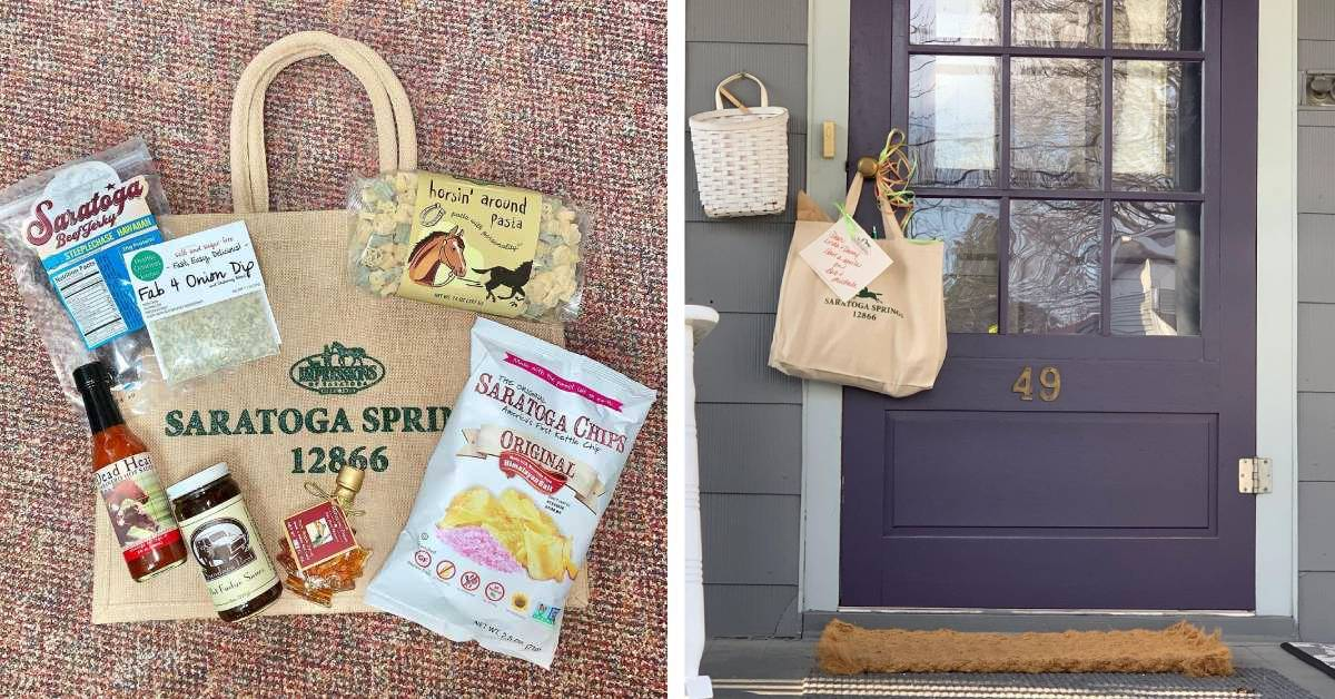 image of a tote bag and food products on the left and an image of a tote hanging on a door on the right
