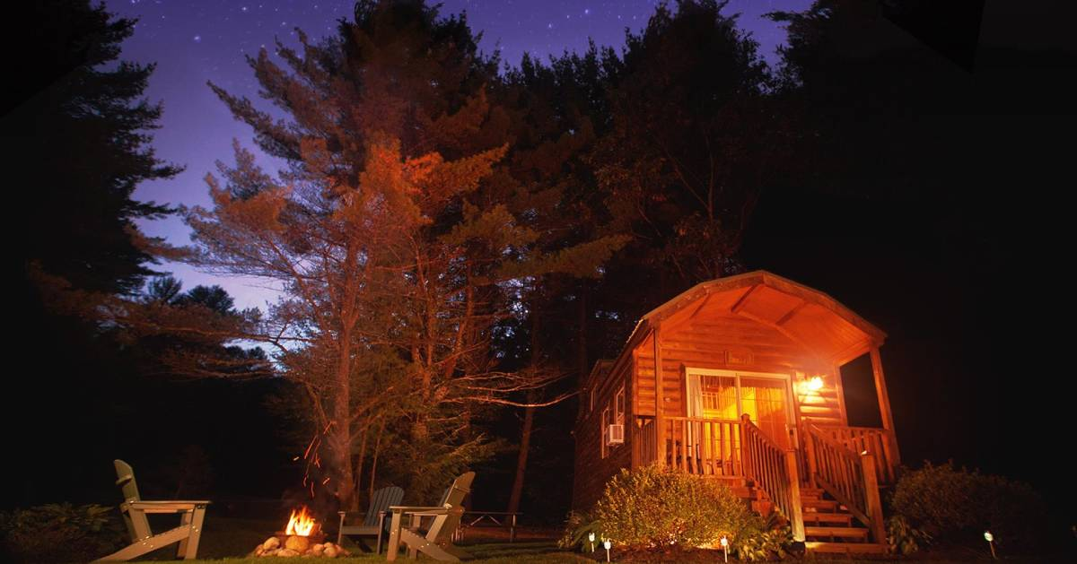 cabin at camp at night