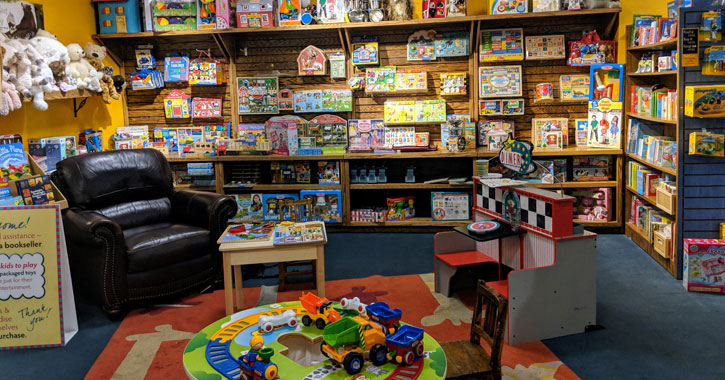 chair and books and toys in bookstore