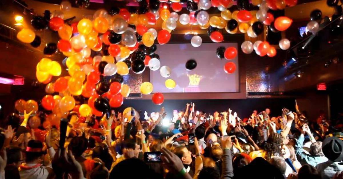 balloons falling at a party