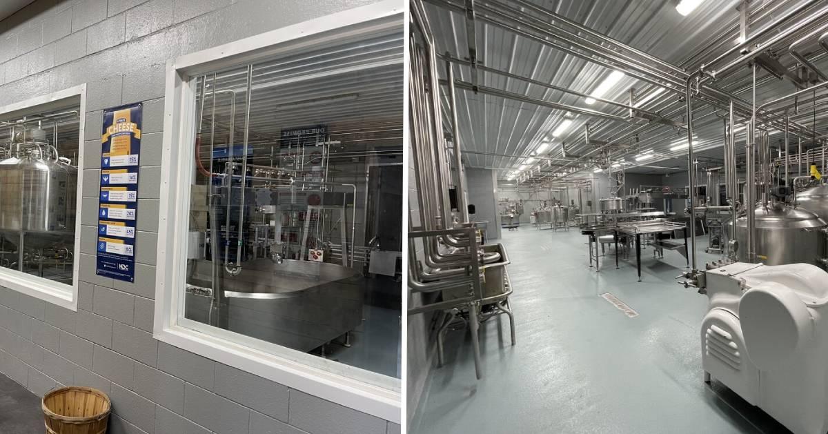 split image of observation rooms on either side