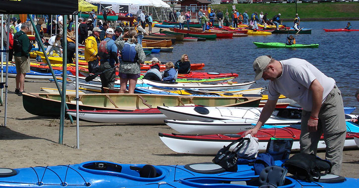 a lot of paddleboats at PaddleFest