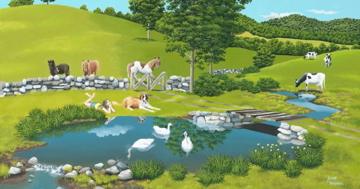 painting of a pasture with farm animals