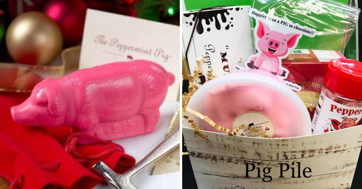 split image with peppermint pig on left and pail of pig items on right