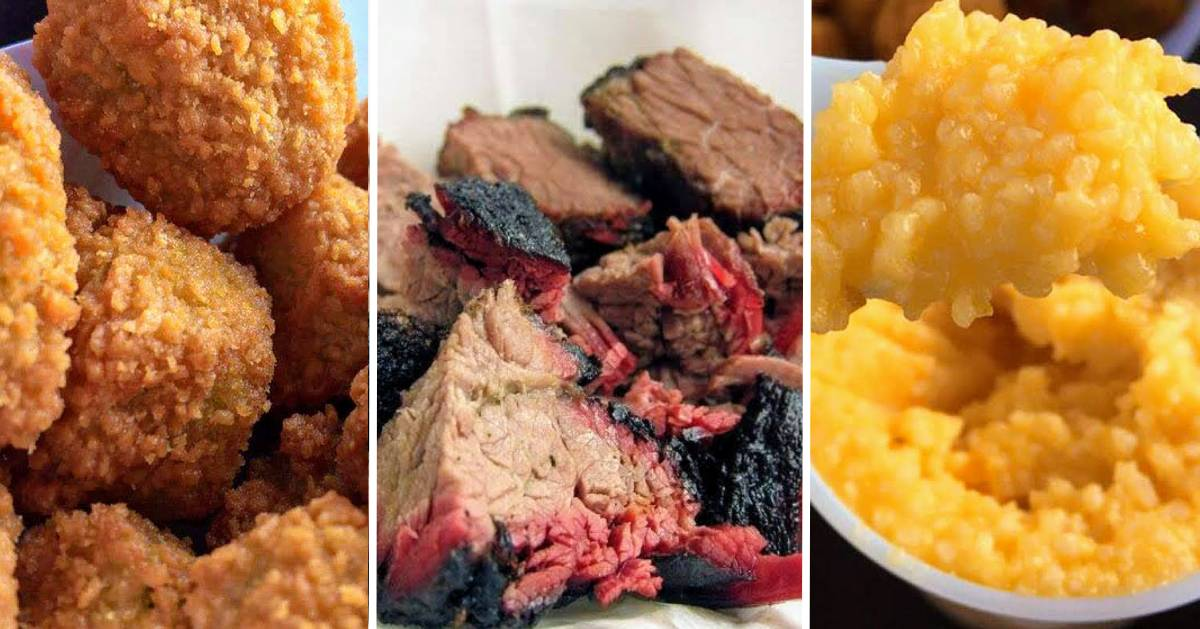 image split in three of barbecue food