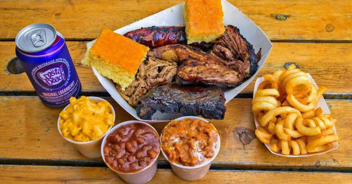 barbecue fare on a picnic table