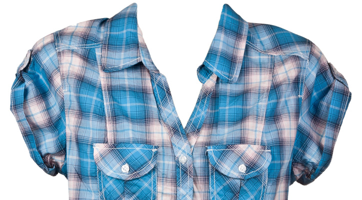 a baby blue plaid top